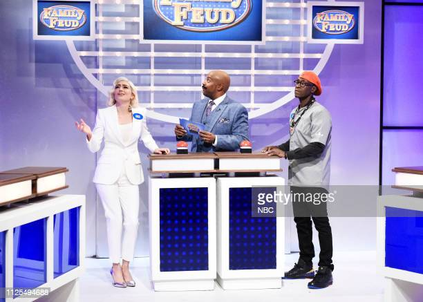LIVE Don Cheadle Episode 1759 Pictured Melissa Villaseñor as Lady Gaga Kenan Thompson as Steve Harvey and host Don Cheadle as Spike Lee during the...