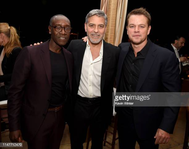 Don Cheadle George Clooney and Matt Damon pose at the after party for the premiere of Hulu's Catch22 at the Sunset Towers on May 07 2019 in West...
