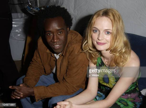 Don Cheadle Heather Graham during The 17th Annual IFP/West Independent Spirit Awards Backstage at Santa Monica Beach in Santa Monica California...