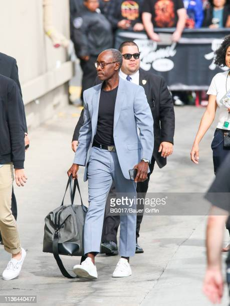 Don Cheadle is seen arriving at 'Jimmy Kimmel Live' on April 11 2019 in Los Angeles California