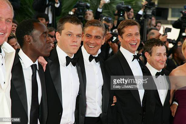 Don Cheadle Matt Damon Brad Pitt and George Clooney arrive at the premiere of 'Ocean's 13' during the 60th Cannes Film Festival
