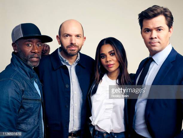 Don Cheadle Paul Scheer Regina Hall and Andrew Rannells of Showtime's 'Black Monday' pose for a portrait during the 2019 Winter TCA at The Langham...