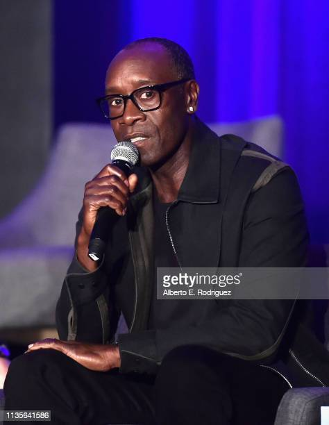 Don Cheadle speaks onstage during Marvel Studios' Avengers Endgame Global Junket Press Conference at the InterContinental Los Angeles Downtown on...