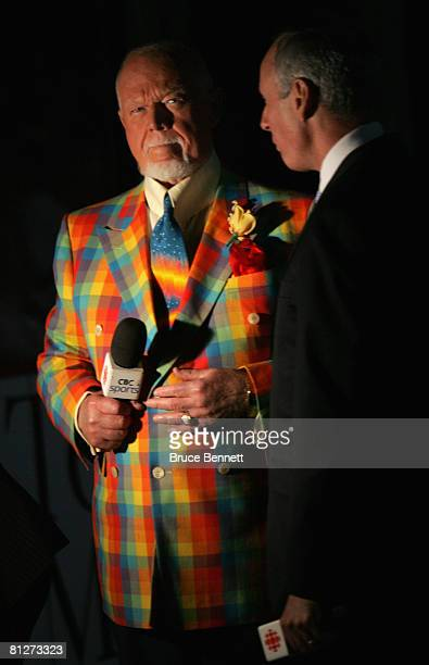 Don Cherry and Ron MacLean of CBC Sports stand on the ice before game three of the 2008 NHL Stanley Cup Finals between the Detroit Red Wings and the...