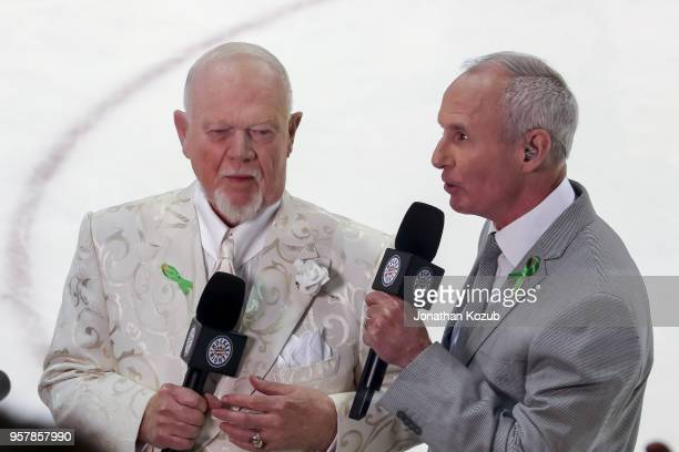 Don Cherry and Ron MacLean of Hockey Night in Canada do a postgame hit following a 42 victory by the Winnipeg Jets over the Vegas Golden Knights in...