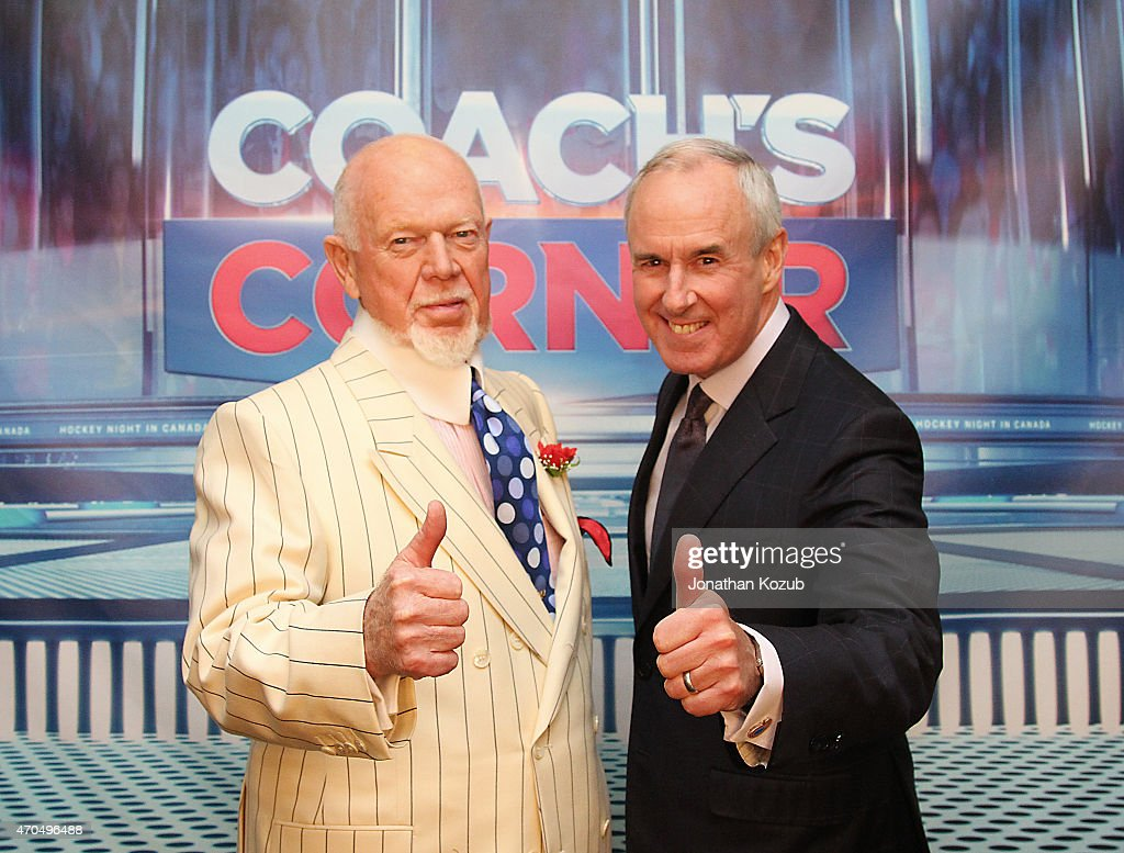 Don Cherry and Ron MacLean of Hockey Night In Canada pose for a photo following an overtime game between the Winnipeg Jets and the Anaheim Ducks in Game Three of the Western Conference Quarterfinals during the 2015 NHL Stanley Cup Playoffs on April 20, 2015 at the MTS Centre in Winnipeg, Manitoba, Canada.