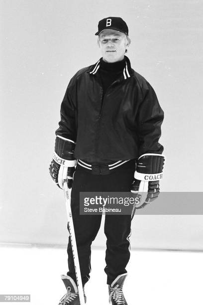 Don Cherry coach of the Boston Bruins poses for camera at trainning camp