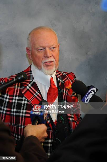 Don Cherry former coach of the Boston Bruins and current Hockey Night in Canada host talks with the media before the game against the Toronto Maple...