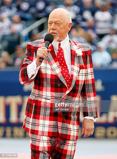 Don Cherry of Hockey Night in Canada attends the 2016 Tim Hortons NHL Heritage Classic Alumni Game between the Edmonton Oilers alumni and the...