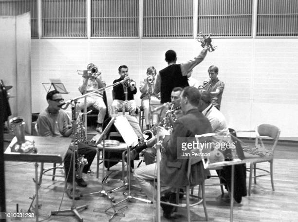 Don Cherry recording with The Danish Radio Jazzgroup at The Radiohouse Copenhagen 1966