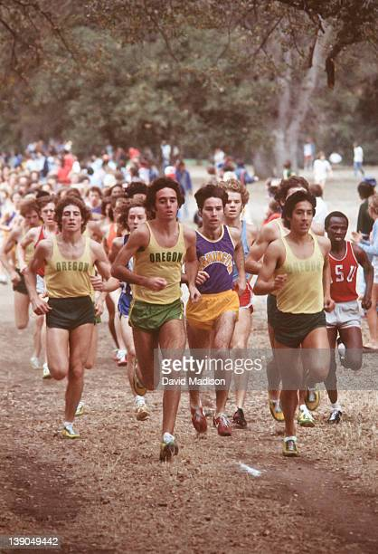 Don Clary of the Oregon Ducks and teammates Alberto Salazar and Rudy Chapa lead the field during the 1978 PAC 8 Cross Country Championships held in...