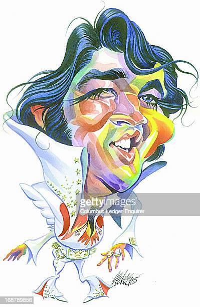 Don Coker caricature of singer Elvis Presley