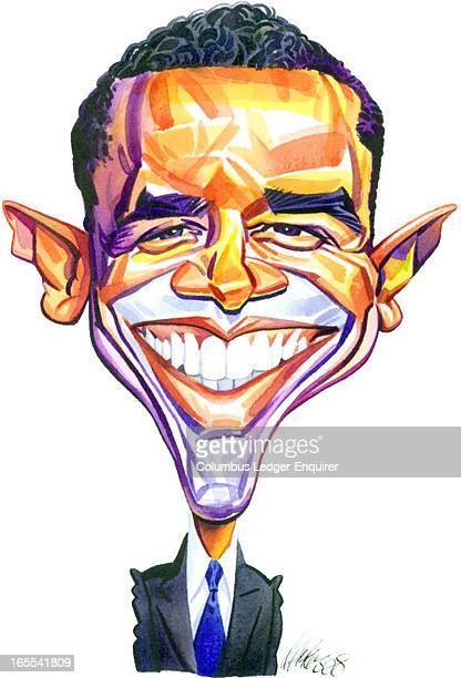 Don Coker color caricature of Barack Obama