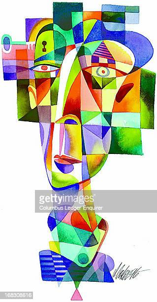 Don Coker color illustration of Picassolike man's head with key next to keyhold in brain