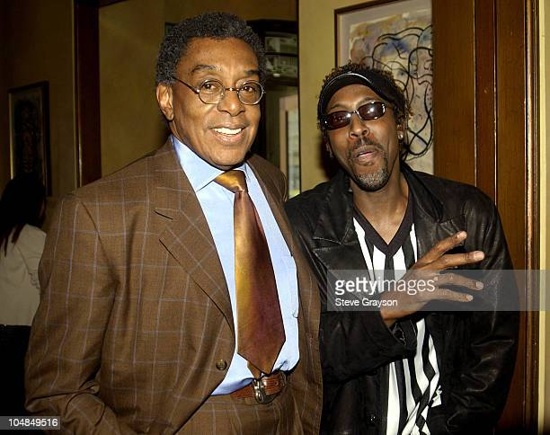 Don Cornelius and Arsenio Hall during 17th Annual Soul Train Music Awards Nominations at Spago in Beverly Hills California United States