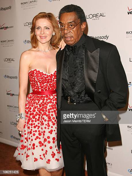 Don Cornelius and guest during 2007 Clive Davis PreGRAMMY Awards Party Arrivals at Beverly Hilton Hotel in Beverly Hills California United States