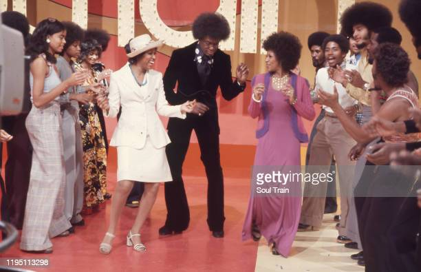 Don Cornelius dances down the Soul Train Line with Jean Terrell and Lynda Laurence of the Supremes on Soul Train episode 62 aired 5/26/1973