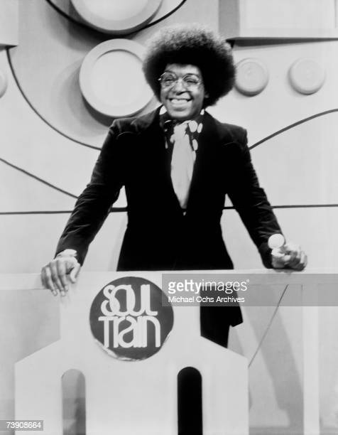 Don Cornelius host and producer of the TV show 'Soul Train' on the set circa 1973 in Los Angeles California