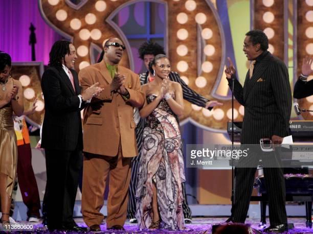 Don Cornelius winner of the Discretionary Award Pop Culture for Soul Train with presenters Mya Smokey Robinson Stevie Wonder and Ashanti