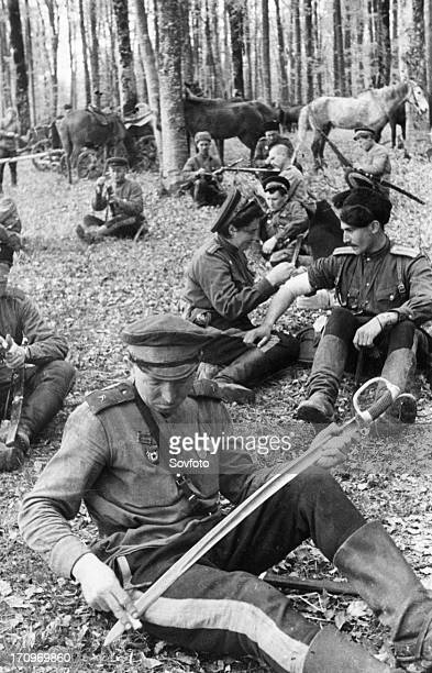 Don cossack guardsmen resting after a battle second ukrainian front in the foothills of the carpathians may 1944