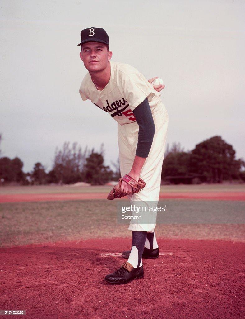 3/1957- Don Drysdale, Brooklyn Dodgers. UPI color slide.