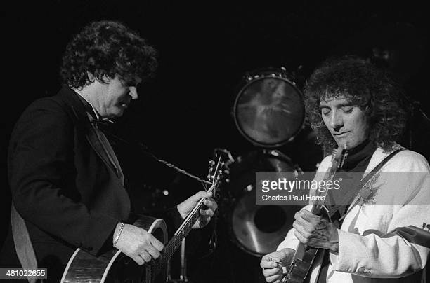 Don Everly and Albert Lee perform at the Brighton Centre on November 11 1985 in Brighton East Sussex UK