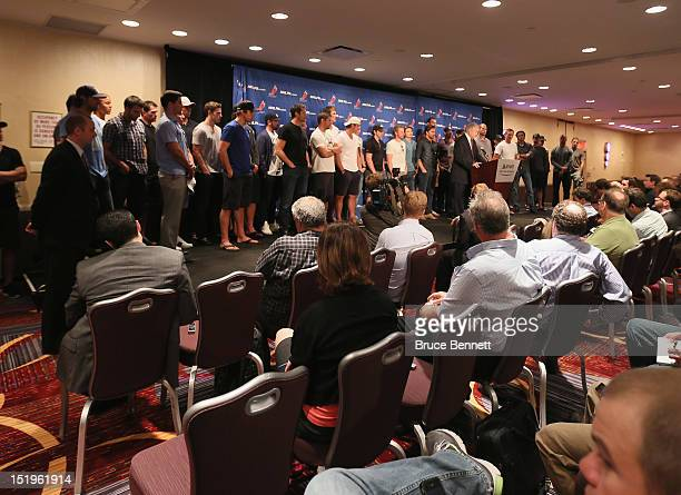 Don Fehr executive director of the National Hockey League Players Association meets with the media at Marriott Marquis Times Square on September 13...