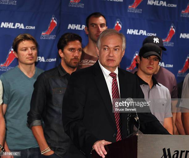 Don Fehr executive director of the National Hockey League Players Association meets with the media at the Marriott Marquis Times Square on September...