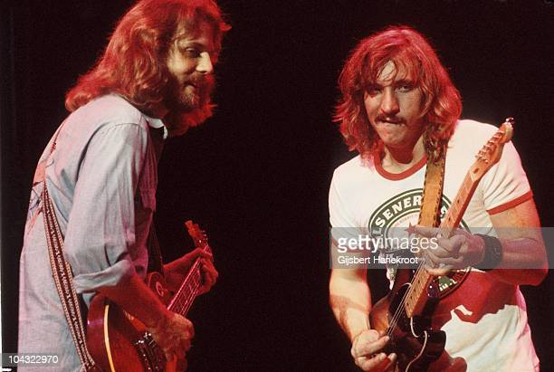 Don Felder and Joe Walsh of The Eagles perform on stage at Ahoy on 11th May 1977 in Rotterdam Netherlands