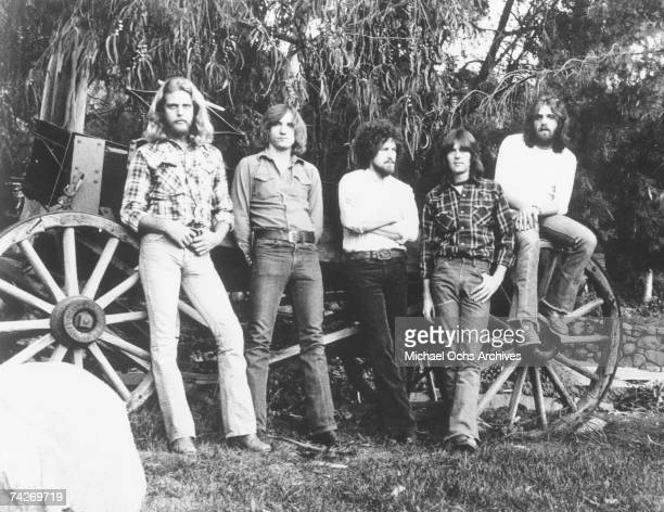 "Don Felder, Joe Walsh, Don Henley, Randy Meisner, and Glenn Frey of the rock band ""Eagles"" pose for a portrait in circa 1977."