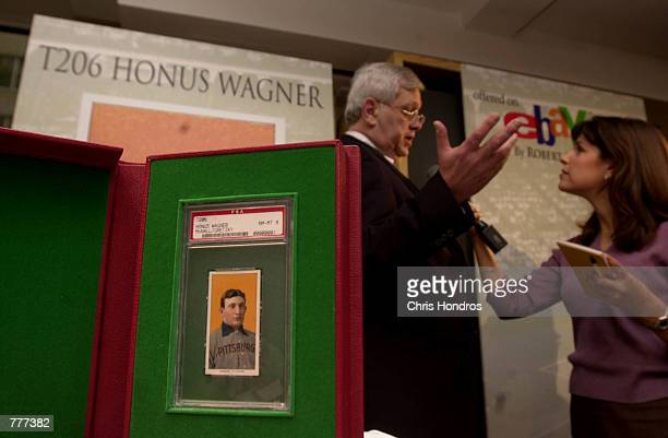 Don Flanagan of Mastronet a sports memorabilia auction company talks with a reporter June 6 2000 in New York City about the upcoming auction of the...