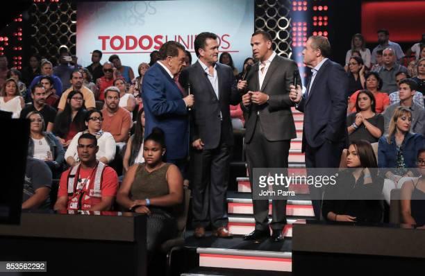 Don Francisco Carlos Hermosillo Alex Rodriguez and Andres Cantor onstage during TODOS UNIDOS Telemundo's Primetime Special from Cisneros Studio on...