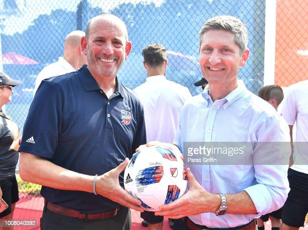 Don Garber, Commissioner, Major League Soccer and William White, Senior Vice President, Marketing, Target attend MLS All-Star Community Day presented...