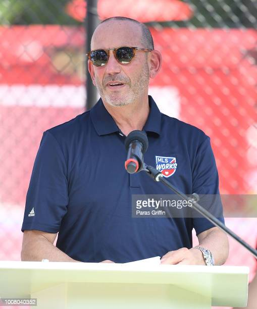 Don Garber, Commissioner, Major League Soccer speaks onstage during MLS All-Star Community Day presented by Target at Anderson Park on July 30, 2018...