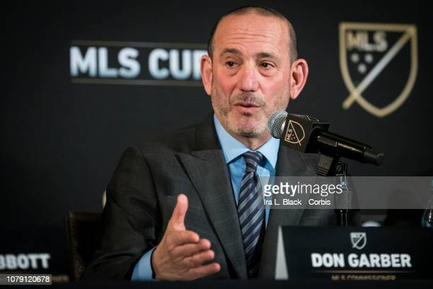 Don Garber, Commissioner of MLS answers questions at the MLS State of the League Press Conference before the 2018 Audi MLS Cup Championship match...