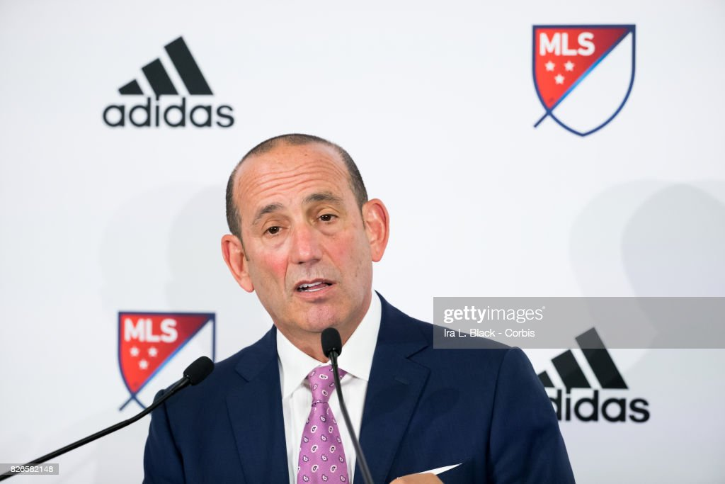 Don Garber Commissioner of MLS at the press conference to announce ongoing relationship with adidas prior to the MLS All-Star match between the MLS All-Stars and Real Madrid at the Soldier Field on August 02, 2017 in Chicago, IL. The match ended in a tie of 1 to 1. Real Madrid won the match on a 4 to 2 in penalty kicks.