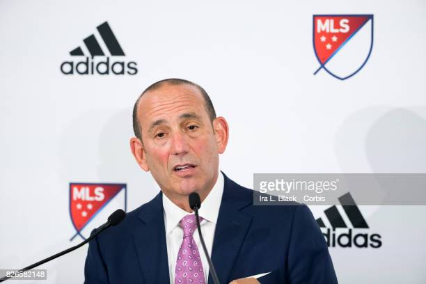 Don Garber Commissioner of MLS at the press conference to announce ongoing relationship with adidas prior to the MLS All-Star match between the MLS...