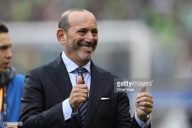 Don Garber, Commissioner of the Major League Soccer greets his fans with two thumbs-up during the match between Toronto FC and Seattle Sounders as...