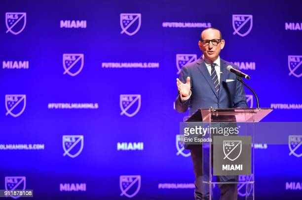 Don Garber, MLS Commissioner addresses the crowd during the press conference awarding the city of Miami with an MLS franchise at the Knight Concert...