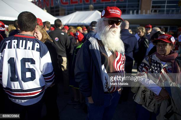 Don Glasgow waits in line outside before a rally for Republican Presidential nominee Donald J Trump November 4 2016 at Giant Center in Hershey...