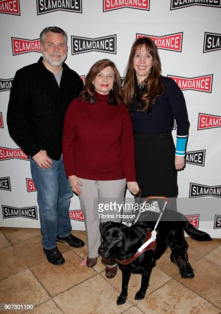Don Hardy, Janet Gearheart and her guide dog, and Dana Nachman attend the Slamdance Film Festival official opening night premiere of 'Pick Of The...