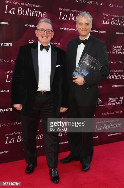Don Harwin and Rory Jeffs attend opening night of Handa Opera's La Boheme on March 23 2018 in Sydney Australia