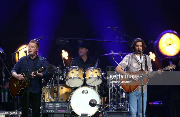 Don Henley and Deacon Frey of The Eagles perform live on stage at Wembley Stadium on June 23 2019 in London England