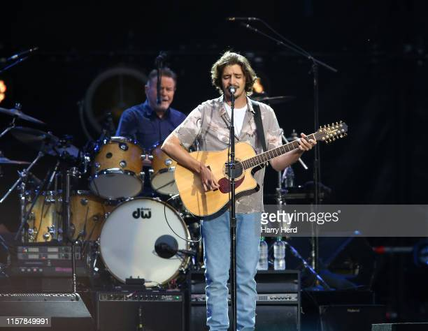 Don Henley and Deacon Frey of the Eagles perform onstage at Wembley Stadium on June 23 2019 in London England