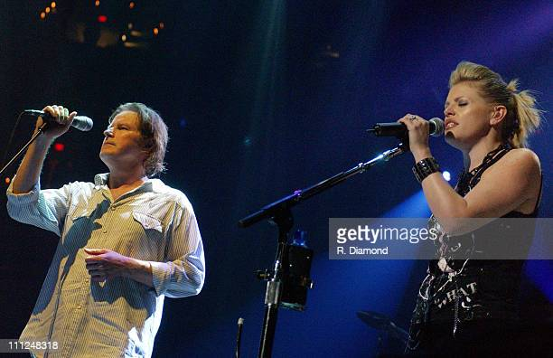 Don Henley and Natalie Maines during The Eagles and Dixie Chicks Benefit for Recording Artists Coalition at MCI Center in Washington DC United States