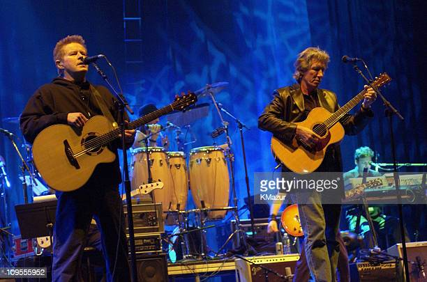 Don Henley and Roger Waters during Music to My Ears Tribute to the Legendary Music Journalist Timothy White Boston Rehearsal at Fleet Center in...