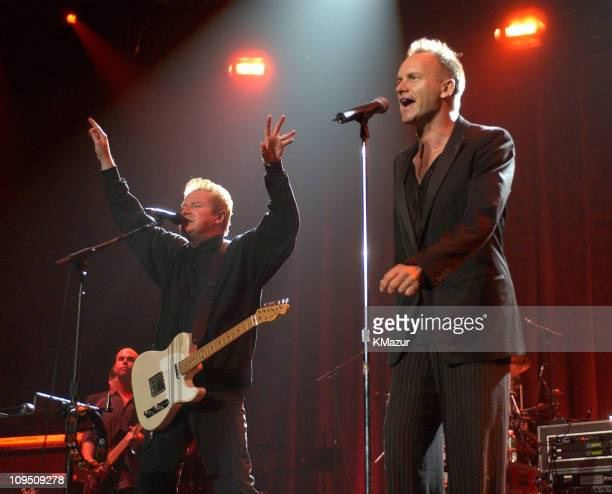Don Henley and Sting during 'Music to My Ears' Tribute to the Legendary Music Journalist Timothy White New York Show at Madison Square Garden in New...