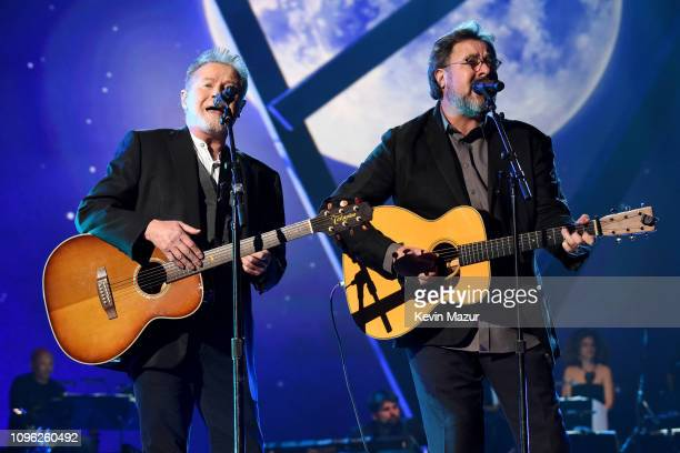 Don Henley and Vince Gill perform onstage during MusiCares Person of the Year honoring Dolly Parton at Los Angeles Convention Center on February 8...