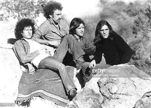 Don Henley Bernie Leadon Randy Meisner Glenn Frey of the rock and roll band 'Eagles' pose for a portrait in circa 1977