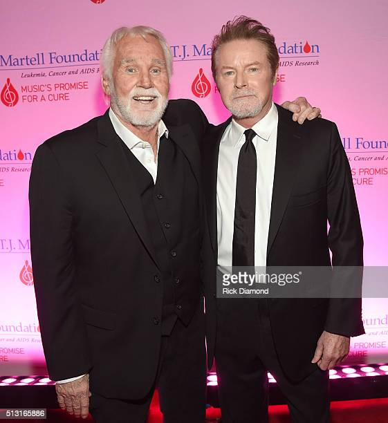 Don Henley congratulates Tony Martell Lifetime Entertainment Achievement Award recipient Kenny Rogers at the TJ Martell Foundation 8th Annual...